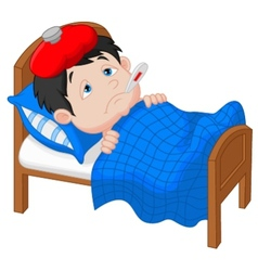 Cartoon sick boy lying in bed vector