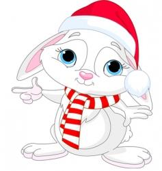 Christmas rabbit vector image vector image