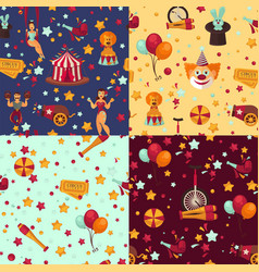 circus themed bright seamless patterns set with vector image