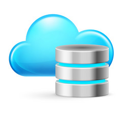 Cloud computing and database on white background vector