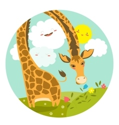 Cute giraffe smelling a flower vector