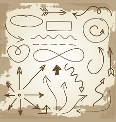 doodle arrows and symbols on vintage grunge vector image