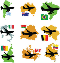 Fly me to the argentina brazil australia italy bel vector