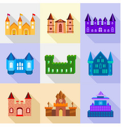 Fortress and bastion icons set flat style vector