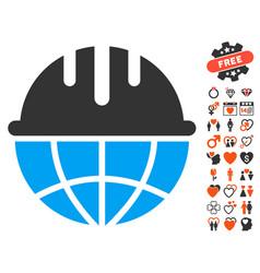 Global safety helmet icon with valentine bonus vector