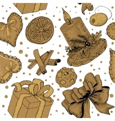 Golden hand drawn sketch pattern vector