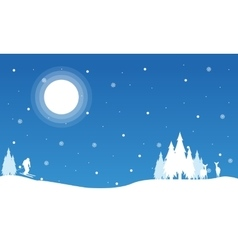 Happy boy skiing in snow christmas landscape vector