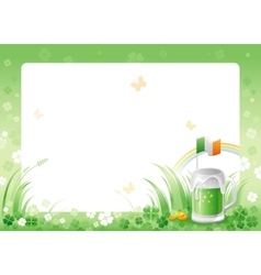 Happy saint patrick day green beer drink border vector