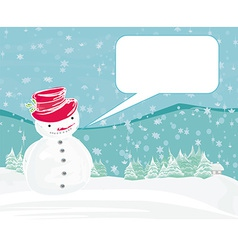 Happy snowman on winter landscape card vector image vector image
