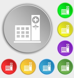 Hospital icon sign symbol on eight flat buttons vector