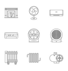 House heater icon set outline style vector