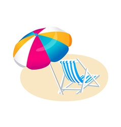 icon beach parasol and chair vector image vector image