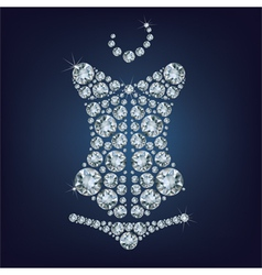 Lady s sexy corset made from diamonds vector image vector image