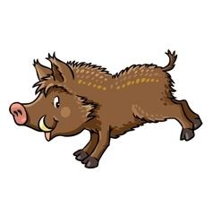 Lttle funny boar or wild pig vector