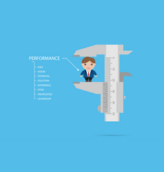 Measuring businessman by vernier caliper vector