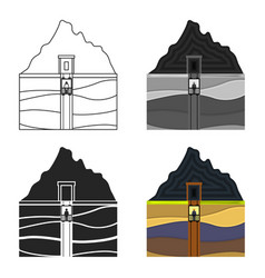 Mine shaft icon in cartoon style isolated on white vector