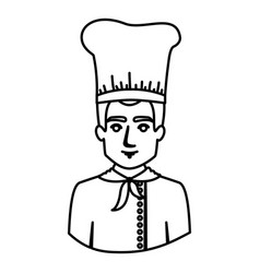 Monochrome contour half body of male chef vector