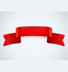 realistic red ribbon on white background vector image vector image