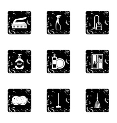 Sanitary day in hostel icons set grunge style vector image