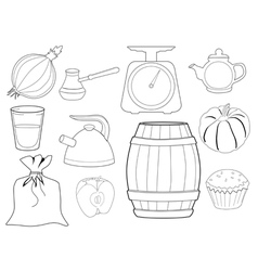 set of kitchen objects and foods vector image
