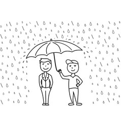 Sketch two cartoon men under umbrella vector