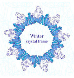 Snowflake frame blue ice crystals decoration vector