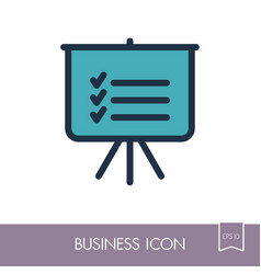 statistics in training board icon planning sign vector image vector image