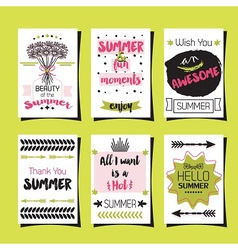 Summer greetings template and journaling cards set vector