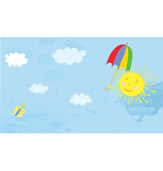 Sun and sky funny banner vector