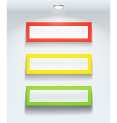 Three colorful frames on a wall vector