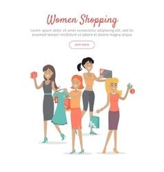 Woman shopping conceptual flat web banner vector