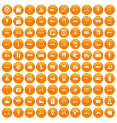 100 public transport icons set orange vector