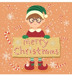 Board candy cane christmas elf glasses boy vector