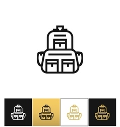 Backpack logo or linear luggage icon vector