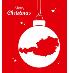 Austria merry christmas map red vector