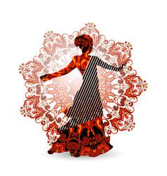 oriental dance dancer in red vector image