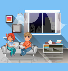 man and woman sitting on the couch with book vector image