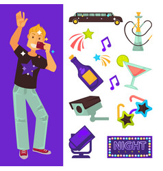 night club party boy and dancing singing vector image