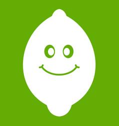 smiling lemon fruit icon green vector image