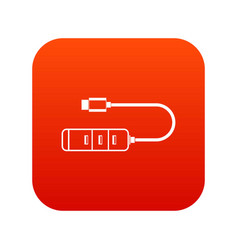 usb adapter connectors icon digital red vector image