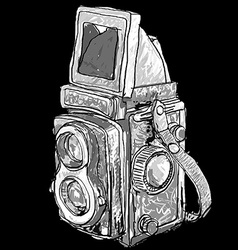 Seamless pattern of old twin lens reflex vector image