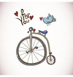 Vintage card with retro bike and bird vector