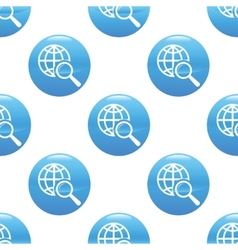 Globe under loupe sign pattern vector