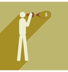 Modern flat icon with shadow man megaphone money vector