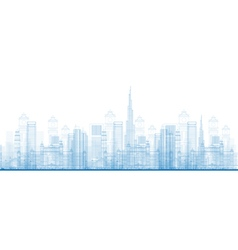 Outline dubai city skyscrapers vector