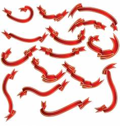 Red ribbons set vector