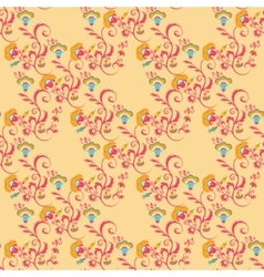 Seamless victorian floral pattern in orange colors vector