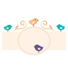 Beautiful romance birds frame vector