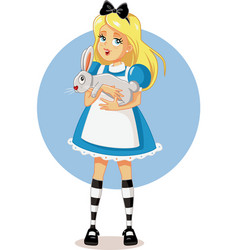 alice in wonderland with her white rabbit vector image vector image