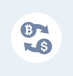 bitcoin to usd exchange icon isolated on white vector image vector image